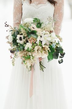 Winter bridal bouquet with loads of texture | Photography: Rebecca Hollis Photography - rebeccahollis.com  Read More: http://www.stylemepretty.com/2014/10/01/winter-wedding-inspiration-at-green-valley-ranch/