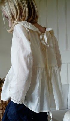vintage style linen blouse with sailor collar