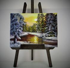 ACEO Winter painting aceo original oil painting on canvas art card ATC miniature painting landscape woodland sunset Christmas painting by PicNatArt on Etsy https://www.etsy.com/listing/580339683/aceo-winter-painting-aceo-original-oil