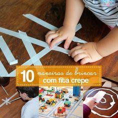 Ideias de como usar a fita crepe como matérias prima de atividades simples e divertidas para crianças de todas as idades.