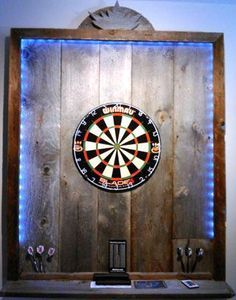 Pallet wood dartboard surround with LED lighting strip - perfect for a man cave!