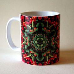 Botanical mandala ceramic mug farmer's market by RVJamesDesigns
