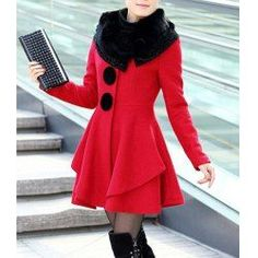$19.23 Stunning Style Long Sleeves Worsted Rhinestone Buttons Decoration Coat For Women