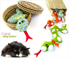 Baby Snakes Catnip Toys. . . an easy project for a child learning to sew.