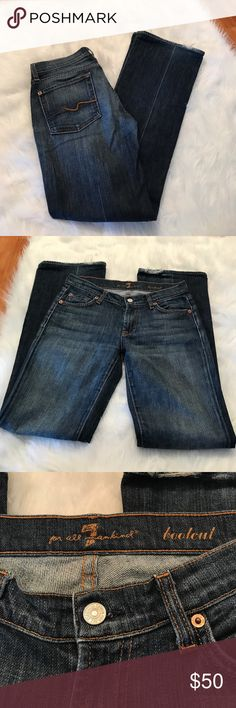 """7 FOR ALL MANKIND BOOT CUT JEANS Beautiful and stylish! Great pre-owned condition, with some fraying on the back of both legs/ Size: 27/ measurements: approximately 30.5"""" length inseam/ 7.5"""" rise/ 9"""" leg opening/ 98% cotton/ 2% spandex/ 7 For All Mankind Jeans Boot Cut"""