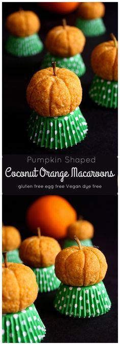 Coconut Orange Macaroons (gluten free vegan dye free) These cute pumpkins are really orange flavored coconut macaroons! Naturally colored and allergy friendly.