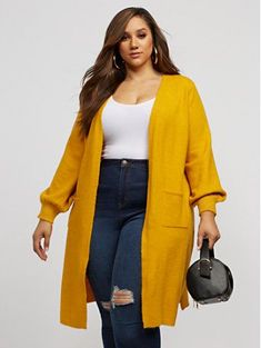 size fashion for women fall Marguerite Long Cardigan Sweater - Fashion To Figure Plus Size Winter Outfits, Plus Size Fall Outfit, Cute Fall Outfits, Plus Size Fashion For Women, Curvy Outfits, Stylish Plus Size Clothing, Plus Size Winter Clothes, Fashion For Chubby Ladies, Work Outfits