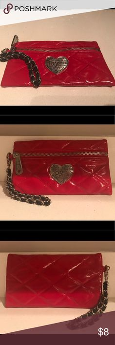 Hot Red Brighton Accessory Pouch/Wristlet Never Used!  Brighton Red Accessory Pouch with removable wristlet chain. Has Christmas Season words on silver heart but not super noticeable so it could be used Year-round. Brighton Bags Clutches & Wristlets