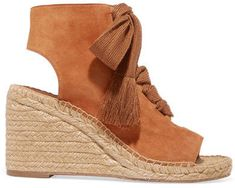bcbb9a407 Chloé Harper Lace-up Suede Espadrille Wedge Sandals - Tan Platform Wedge  Sandals, Wedge