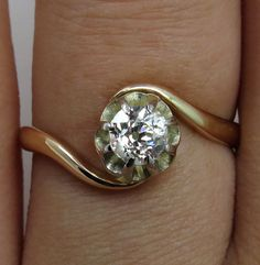 Reserved...Authentic Victorian 1873 0.45ct Antique Vintage Old European Diamond Solitaire Wedding Engagement Ring