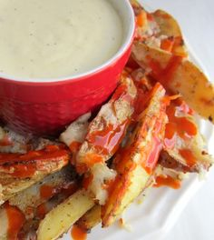 Follow my blog with Bloglovin Buffalo sauce just isn't for chicken wings... it's for smothering (baked) Naughty Fries, too! Are you a dipper? If something is dippable, like-- Pickles into ranch.....