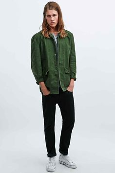 Urban Renewal Vintage Customised Swedish Work Jacket in Olive - Urban Outfitters
