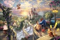 "Thomas Kinkade ""Beauty and the Beast Falling In Love"" 12 x 16 Canvas Print - Disney"