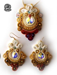 Soutache pendant and earrings in Brown by caricatalia.deviantart.com on @deviantART