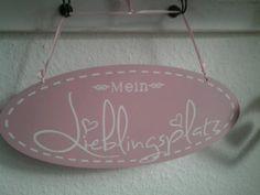 "Shabby Chic Deko Schild "" Mein Lieblingsplatz "" Rosa Holz Landhaus Vintage NEU | eBay"
