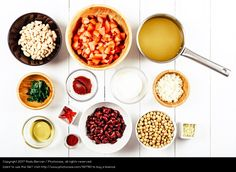 Chili Bean Stew Food Ingredients Top View On White Wood Table, healthy food, food inspiration