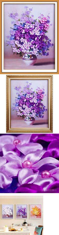 Panna Printed Satin Stitch Ribbon Embroidery Stumpwork Kit JK-2014 Lilac Flowers