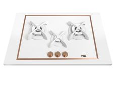 Pramar Stone Dekton Flat 3 Burners Hob. White Defendi Burners. Bronze details.