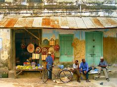 This photo from Zanzibar, East is titled 'Stone Town'. African Colors, African Art, African Design, Tanzania, Zanzibar Africa, Our Man In Havana, African Great Lakes, Derelict Buildings, Stone Town