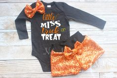 Little Miss Trick or Treat Baby Halloween Costume Baby Girl Halloween Outfit, Newborn Halloween, First Halloween, Halloween Costumes For Girls, Costume Halloween, Halloween Clothes, Halloween Ideas, Halloween Decorations, Toddler Fashion