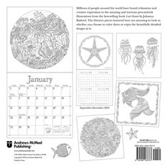 Lost Ocean 2017 Wall Calendar An Inky Adventure And Coloring Find This Pin More On Johanna Basford