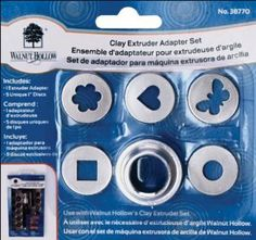 Walnut Hollow Clay Extruder Adaptor Set by Walnut Hollow. $9.32. Instructions. Adapter bottom and cap. 5 discs - flower, heart, butterfly, square, circle. New larger size discs. From the Manufacturer                Use with Walnut Hollow's Clay Extruder Set. Attach disc, bottom and cap to Extruder to extrude larger clay shapes. Includes 5 metal discs each with a different design.                                    Product Description                WALNUT HOLLOW-Clay Ex...
