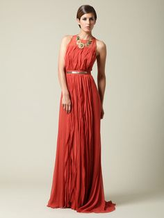 J.Mendel Silk Chiffon Materialized Gown