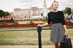 Art Director Polly wears the Jersey Jacquard Skirt whilst out and about at Buckingham Palace! Shop with 15% off and free delivery with code PIN1 (UK) or PIN2 (US) #Boden #AW14
