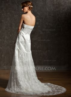 A-Line/Princess Sweetheart Court Train Satin Lace Wedding Dress With Ruffle (002012909)