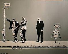 Banksy, keep it real, with cartoon man