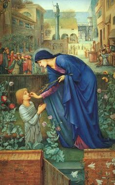 The Prioress' Tale ~ Edward Burne-Jones  (This could also be an illustration for 'Fatal Flower Garden')