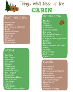 Awesome free printable packing list for a cabin vacation -- what to bring!