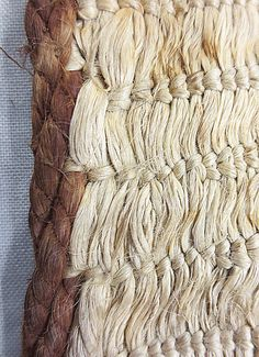 """Conserving """"Curiosities"""": A Red Woollen Thread New Zealand Flax, Flax Fiber, Flax Plant, Wool Thread, Easter Island, Conservation, Black And Brown, Weaving, Tapestry"""