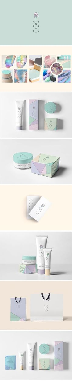 Minerals natural care™ on Behance by Super Magic Friend, Mexico City, Mexico. Love the packaging concept mirroring the prismatic minerals. The colors are lovey too. PD