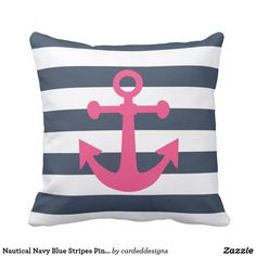 Nautical Navy Blue Stripes Pink Magenta Anchor