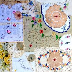A little bit of crazy patchwork with some lovely doilies