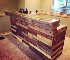 Wood pallet bar by WoodPalletTreasures on Etsy