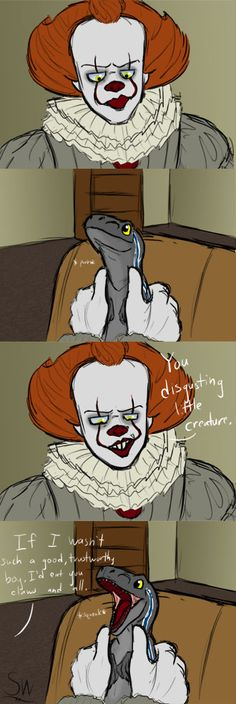 Watch Mah Gorl by on DeviantArt All Horror Movies, Halloween Horror Movies, Funny Horror, Scary Movies, Funny Grumpy Cat Memes, It The Clown Movie, Le Clown, Pennywise The Dancing Clown, Movie Memes