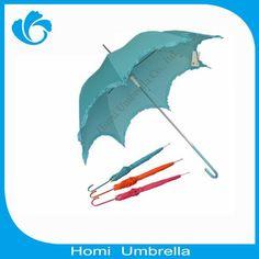 Fiberglass Ribs Pongee Fabric Flower Shape Laides Parasol Umbrella