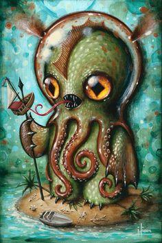 """Art by Jason Limon """"Island of Bones"""", 8"""" x 12"""" x .75, acrylic on wood panel"""