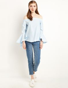 Light Blue Ruffle Sleeve Off The Shoulder Top Shoulder Knots, Light Blue Blouse, Knotted Shirt, Trendy Tops For Women, White Off Shoulder, Ruffle Sleeve, Cute Dresses, Jeans, Long Sleeve Tops