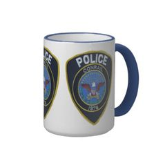 Conrail Railroad Police Patch Ringer Coffee Mug -$21.20 - #stanrail- The Conrail Police Department was disbanded in 1999 Add some flair to your mug design with the Ringer Mug. Handle and lip of the mug are colored to match. 11 oz. or 15 oz. Available in 10 colors. Dishwasher and microwave safe. Imported. #Vintage  #ConrailPolice   #Conrail #RailroadPolice  #Trains #stanrails_store