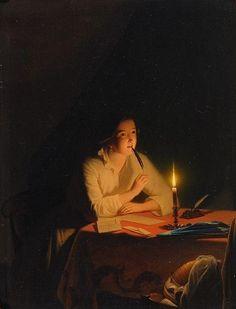 Candlelight - Johannes Rosierse  Dutch painter 1818-1901
