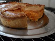 A lovely cheese and onion pie done with a hot water crust pastry, which is made with milk instead of water. Tip: Use the pastry while still warm, it's easy to roll out. Cheese And Onion Pie, Cheese Pies, Baked Cheese, Best Cheese, Lemon Cheese, Onion Recipes, Cheese Recipes, Pie Recipes, Cooking Recipes