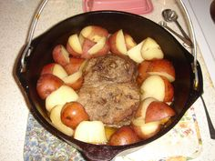 Chuck Roast Slow-Cooked  in a Cast Iron Dutch Oven.  I made this but substituted the cup of water for a cup of one of my fav red wines.  It was the best pot roast I've had in a very long time!  It was tender, melt-in-your-mouth, and full of flavor. I can't wait to have this for dinner again. Make this! 5 Stars