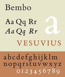 Bembo is a 1929 old-style serif typeface most commonly used for body text. It is based on a design cut by Francesco Griffo for printer Aldus Manutius around 1495, and named for Manutius's first publication with it, a small 1496 book by the poet and cleric Pietro Bembo. It blends features of Renaissance printing, with a 20th-century sensibility and the expectations of contemporary design.
