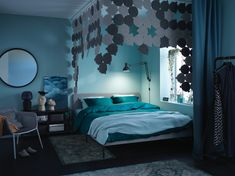 The blue sanctuary bedroom - IKEA Mauve Bedroom, Ikea Portugal, Green Duvet Covers, Upholstered Bed Frame, Ikea Home, Soothing Colors, Quilt Cover, Good Night Sleep, Home Furnishings