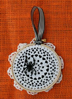 What a festive Halloween ornament! http://www.etsy.com/listing/84106431/halloween-spider-ornament
