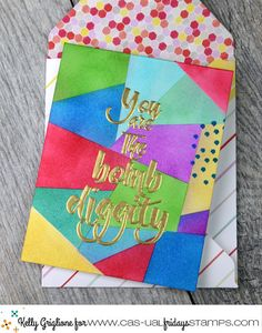 Make your own background by sponging ink between randomly placed post-it notes. Make Your Own Background, Die Cut Cards, Cool Cards, Clear Stamps, Happy Monday, Thank You Cards, Card Ideas, Card Making, Sponging