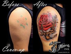 Cover-up tattoo with anchor and rose